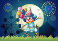 A clown with balloons standing in front of the carnival illustration Royalty Free Stock Image