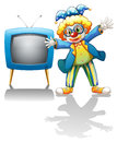 A clown beside a blue television illustration of on white background Royalty Free Stock Image