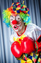 Clown with boxing gloves Stock Photo