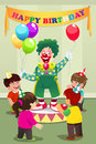 Clown carrying balloons to kids birthday party a vector illustration of Royalty Free Stock Images