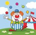 Clown cartoon character juggling mit bällen in front of circus tent Lizenzfreies Stockfoto