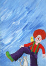 Clown cat and bird acrylic illustration of Royalty Free Stock Image