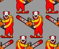 Clown and Chainsaws pattern seamless. Horror Halloween background. vector texture Royalty Free Stock Photo