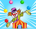 Clown from the circus tent illustration shows a who juggles balls against background of a illustration done in cartoon style on Royalty Free Stock Image