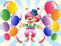 A clown with a colorful costume surrounded by balloons illustration of Royalty Free Stock Photo