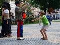 Clown com um menino, Lublin, Poland Fotos de Stock Royalty Free