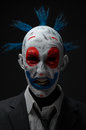 Clown crazy zombies red blue in a jacket