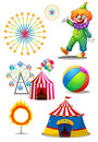 A clown with the different things in a carnival illustration of on white background Royalty Free Stock Photos