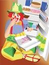 Clown eating cupcake Royalty Free Stock Image