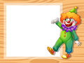 A clown beside an empty white board illustration of Stock Photography