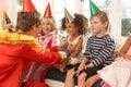 Clown entertaining children Royalty Free Stock Photo