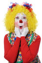 Clown exprimant la surprise Images stock