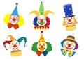 Clown face set,Vector illustrations