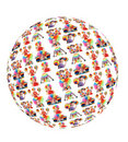 Clown family with rainbow hat umbrella globe Stock Photos