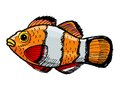 Clown fish hand drawn sketch cartoon illustration of Royalty Free Stock Photo