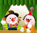 Clown friends two funny clowns at birthday party Royalty Free Stock Image