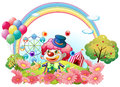 A clown in the garden with a carnival at the back illustration of on white background Stock Image