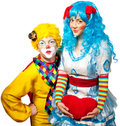 Clown giving his heart actress. Royalty Free Stock Images