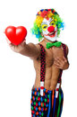 Clown with heart isolated on white Stock Photo