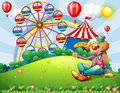 A clown at the hilltop with a carnival illustration of Royalty Free Stock Images