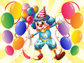 A clown holding balloons illustration of Royalty Free Stock Images