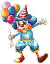 A clown holding balloons illustration of on white background Royalty Free Stock Photography