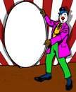 Clown holding a blank sign comic book style illustration of Royalty Free Stock Images