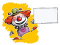 Clown holding business card Royaltyfri Foto