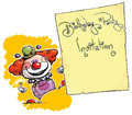 Clown holding invitation birthday party Royalty-vrije Stock Afbeeldingen