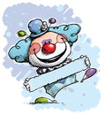 Clown holding a label boy colors cartoon artistic illustration of Royalty Free Stock Image