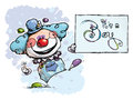 Clown holding an it s a boy card cartoon artistic illustration of Royalty Free Stock Photography