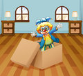 A clown inside the box illustration of Royalty Free Stock Photography