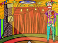 Clown inside circus tent