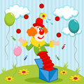 Clown juggler juggles balls vector illustration Stock Photos