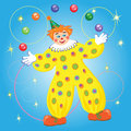 Clown juggling balls and rings Stock Photos