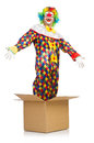 Clown jumping out of the box Royalty Free Stock Photography