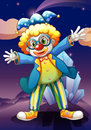 A clown in the middle of the night illustration Stock Photos