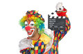 Clown with movie board on white Stock Image