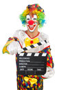 Clown with movie board on white Stock Photos
