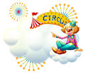 A clown near the yellow circus signage illustration of on white background Royalty Free Stock Photo