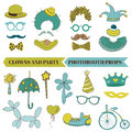 Clown and party photobooth set glasses hats lips mustache masks in Royalty Free Stock Photos