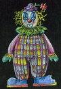 Clown pastel drawing on black background Stock Images