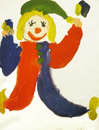 Clown in the red blue suit child art Royalty Free Stock Images