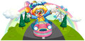 A clown riding in a pink car with balloons illustration of on white background Stock Photos