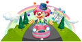 A clown riding in a pink car while juggling illustration of on white background Royalty Free Stock Photo