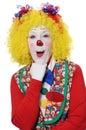 Clown som uttrycker överrrakning Fotografering för Bildbyråer