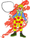 Clown with speech bubble hand drawn line drawing of a Royalty Free Stock Images