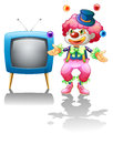 A clown standing near the t v illustration of on white background Royalty Free Stock Photography