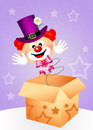 Clown surprise illustration of in the box Royalty Free Stock Photos