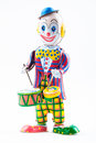 Clown toy a smiling drummer isolated Stock Photography